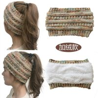 Women's Plush Wool Headband Knitted Color Horsetail Hair Band Pullover Hat R3YO722