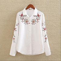 Embroidery White Cotton Shirt 2019 Autumn New Fashion Women ...