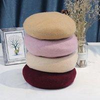 Beanies 2022 Winter Beret Girl's Cap Circumference Threads Band British Design Wool Korean Sweet Dome Warm Hat Hip Hop