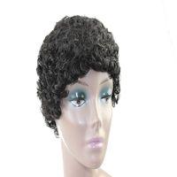 الجملة البرازيلي الطبيعي الأسود العكس مجعد شعر مستعار قصير 100٪ شعر مستعار الإنسان للمرأة السوداء