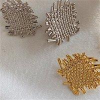 GSOLD Retro Geométrico Metal Irregular Irregular Textura Textura Pendiente Elegante Hollow Out Aleación Pendiente Mujer Partido Fiesta Joyería1 9 R2