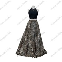 2022 Sexy Leopard Black 2 Pieces Prom Bridesmaid dresses Halter A line Applique Lace African Satin Long Cocktail Homecoming Evening gown