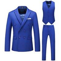 Men's Suits & Blazers Mens 3 Piece Royal Blue Wedding Blazer 2021 Three-piece Fashion Large Size 6XL Men Party Dress Man Suit