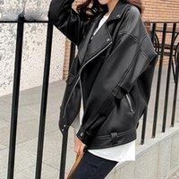 Women's Leather & Faux Jacket Women Casual PU Loose Motorcycle Jackets Female Streetwear Oversized Coat Korean Chic Spring