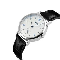 Наручные часы SKMEI Номер Масштабы Мужчины Женщины Пары Простые Кварцевые Часы Водонепроницаемый Черный Кожаный Любовник Подарок Запястье 9120