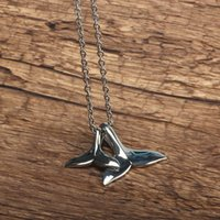 Pendants Fish Whale Tail Pendant Necklace For Women Vintage Gold Silver Color Female Jewelry Link Chain Gift