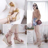 Dress Shoes Slope Sandals Women's 2021 Summer Korean Fairy Thick Bow Waterproof Platform Slim Strap Fashion High Heels