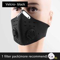 Snygg svart rödblå återanvändbar filterskyddsmask cykling PM2.5 Aktiverad kolmaskmask för både män och kvinnor