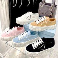 2021 디자이너 여성 나일론 캐주얼 신발 Gabardine 클래식 캔버스 스니커즈 브랜드 휠 레이디 스타일리스트 트레이너 패션 플랫폼 솔리드 Box 먼지 가방으로 높이