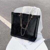 جديد كلاسيكي الأبيض الطباعة شبكة تسوق سلسلة حقيبة مع الشريط الكلاسيكية شاطئ حقيبة السفر المرأة غسل حقيبة مستحضرات التجميل ماكياج تخزين شبكة القضية