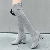 Boots 2021 Stretch Fashion Square High Heel Women Over The Knee Pointed Toe Slip On Long Booties Big Size 34-43