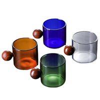 أكواب لديها أفكار تصميم 4 قطع 100-150ml القهوة القدح الإبداعية مضحك مع الكرة مقبض ساك شوشو الفودكا s الزجاج