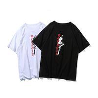 2021 NUEVA camiseta de diseñador para hombre para hombre y para mujer Impresión de flores de alta calidad T-shirt Black Blue camiseta suelta Hip Hop Camiseta S-XL