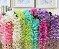 Fleurs artificielles Fleur de soie Wisteria Vigne Flower Rattan Pour Centres de mariage Décorations Decorations Bouquet Garland Accueil Ornement EWB10323