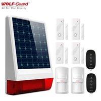 Alarmsysteme Wolf-Guard Wireless Outdoor-wetterfest GSM SMS Solar Sirene House Security Burglar-System PIR-Bewegungs-Türsensor