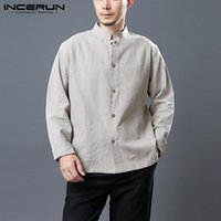 Incerun 2021 Solid Color Camicia Uomo Stand Collar Manica Lunga Streetwear Cotton Casual Tops Vintage Button Camisas Hombre S-5XL