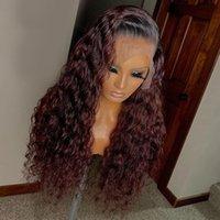 1b 99J rouge bordeaux dentelle frontale perruque ombre coloré dentelle bouclée avant perruques de cheveux humains couleur couleur humaine cheveux de dentelle