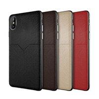 New Leather Case Caixa Celular Caso Caixa de Crédito Slots para iPhone XR XS máx x 6 7 8 PLUS S8 S9 S10 Plus Nota 8 9 Huawei Xiaomi Case
