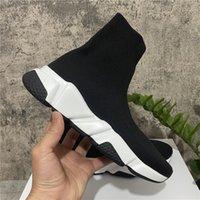 2021 أعلى جودة جديد باريس سرعة عارضة أحذية المدربين متماسكة جورب الأحذية الأصلي رجل إمرأة أسود أبيض أحمر الحياكة مع مربع