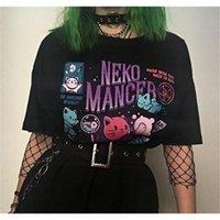 Hahayule yf neko mancer t-shirt unisex bonito estética grunge estética preto tee vestuário gótico branco camisa 210304