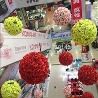 """25 CM / 10 """"8 Renkler Yapay Gül Çiçek Topu Düğün Öpüşme Top Düğün Süpermarket Deoration Asma"""