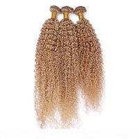 9a miel blonde péruvienne humaine 3pcs cheveux bouclés tisse # 27 Fraise Blonde Jerry Curly Curly Peruvian Human Cheveux Bundles Machine Double trame