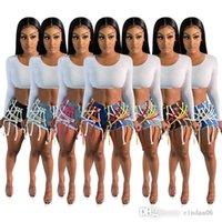 Designer Women Denim Shorts Fashion Boutique Dark Ribbon Trousers Non Pants Ladies Mid Waist Butt Lift Bandage Sports Loose Leggings