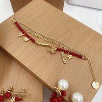 الأزياء الفاخرة مصمم قلادة د / ديجيا مجوهرات متعدد الطبقات الأحمر بيرل إلكتروني المرأة صافي سوار العنب أقراط