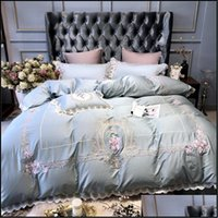 Sets Supplies Textiles Home & Garden Light Blue European Pastoral Embroidery Egyptian Cotton Bedding Set Duvet Er Sheet Bed Linen Pillowcase