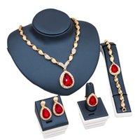 Blue Ruby Fashion Bridal Lega a quattro pezzi Collana Bracciale ANELLO ANELLO