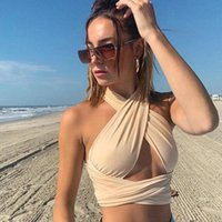 Women's Tanks & Camis Women Strappy Cross Over Front Cut Out Halter Neck Sleeveless Backless Wrap Crop Top Bandage Vest Summer Sexy Tops Wom