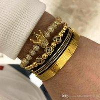 451615372 3pcs set+Roman numeral titanium steel bracelet couple Charm bracelet crown for lovers bracelets for women men luxury jewelry tainless Gift Valentine's Day