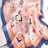 Scarves KOI LEAPING Women's French Sunshade Clothing Decorative Small Silk Scarf Card Pattern Summer Sunscreen Gift