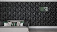 Adesivi murali ARTI3D 50x50 cm Adesivi muro Matt Nero 3D Carta da parati Pannello PVC Flower Design Cover 32 SQFT, per arredi interni in soggiorno, camera da letto, hall, ufficio, centro commerciale (12 pezzi)