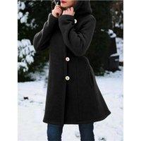 Women's Wool & Blends Women Coat Solid Single Breasted Hooded Slim Long Outerwear Plus Size Winter Jacket Cpoat