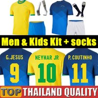 2021 Brasil 축구 유니폼 Richarlison G.Jesus Copa America 브라질 축구 셔츠 세트 20 21 Coutinho Firmino Marquinhos Casemiro Camiseta 남자 키트 제복