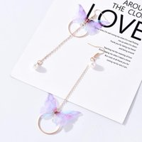 Dangle & Chandelier 2021 Fashion Long Bow-knot Circle Bead Tassel Bohemian Earrings For Women Asymmetry Butterfly Pearl Earring Jewelry Acce
