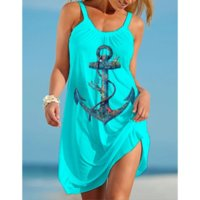 Curved hook women s round neck tie new style 3D printing loose summer beach seabed animal octopus sling sleeveless casual dress