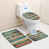 3 Parça Set Klozet Mat Vintage Yaratıcı Kaymaz Banyo Mat Seti Emici Su Banyo Kapak Tuvalet 210305 Için Klozet Mat Halı