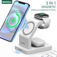 Bonola Qi 15W Magnetic Charger Wireless 3 in 1 for iPhone 12 Pro Max 12Mini Fast Charging Station Apple Watch Airpods