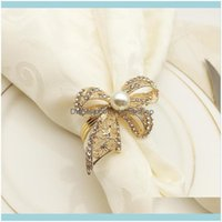 Decoration Aessories Kitchen, Dining Bar Home & Gardenpc Alloy With Diamond Bow-Knot Napkin Ring Exquisite Buckle Holder For El Wedding Part