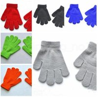 Christmas present Gloves kids Winter Solid color Candy colors Full finger Magic Knit Warm Boys and girls ski Stretch outdoor gift cute comfortable