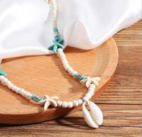 Bohemian Handmade Natural Stone Beaded Pendent Necklaces White Turquoise Starfish Shell Necklace Choker for Women Beach Jewelry