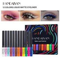 Handaiyan farbiger flüssiger Eyeliner-Set Regenbogen-Eyeliner setzt 12 Farben schnell trocken, leicht zu tragen Augen-Make-up