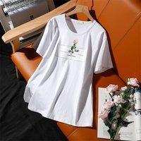 Донамол большой размер с коротким рукавом футболка женское лето новая роза печать круглые шеи хлопок свободно досуга топы женские пуловеры 210315