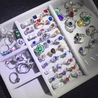 Fashion colorful rhinestone Rings Silver-plated good quality ring mixed different styles For wedding jewelry