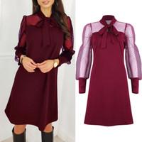 Fashion Women Elegant Evening Party Club Loose Dress Ladies Casual Mesh Long Sleeve Dress