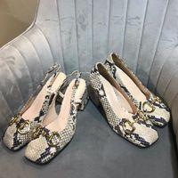 2021 Slingback Pumpe mit Horsebit Mid-Heel 75mm Frauen Designer Sandalen Python Print Leder Maultiere Kleid Party Schuhe mit Kiste 273