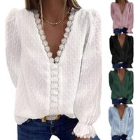 Women's Blouses & Shirts Women Blouse Loose V-Neck Chiffon Shirt Female Long Sleeve 2021 Womens Tops And Top Chemise Femme