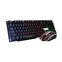 Keyboard Mouse Combos colorido agrietado LED iluminación retroiluminado USB con cable Rainbow Juego 104 Tecla + Establecer diseño ergonómico para operación suave
